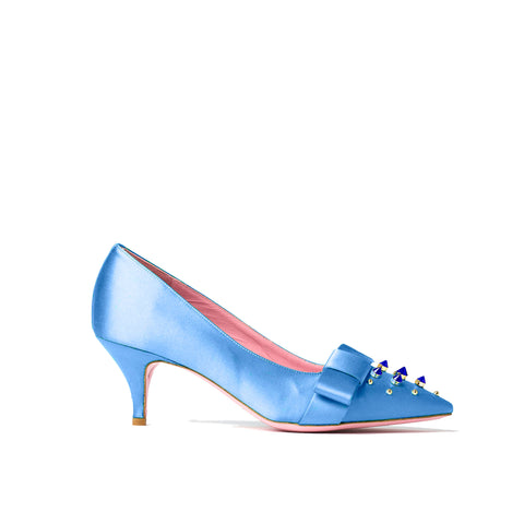 Phare studded kitten heel in blue silk satin