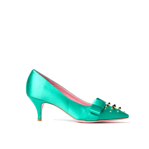 Phare studded kitten heel in verde silk satin with black and gold studs