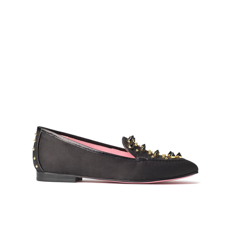Phare studded loafer in black silk satin with black gold studs