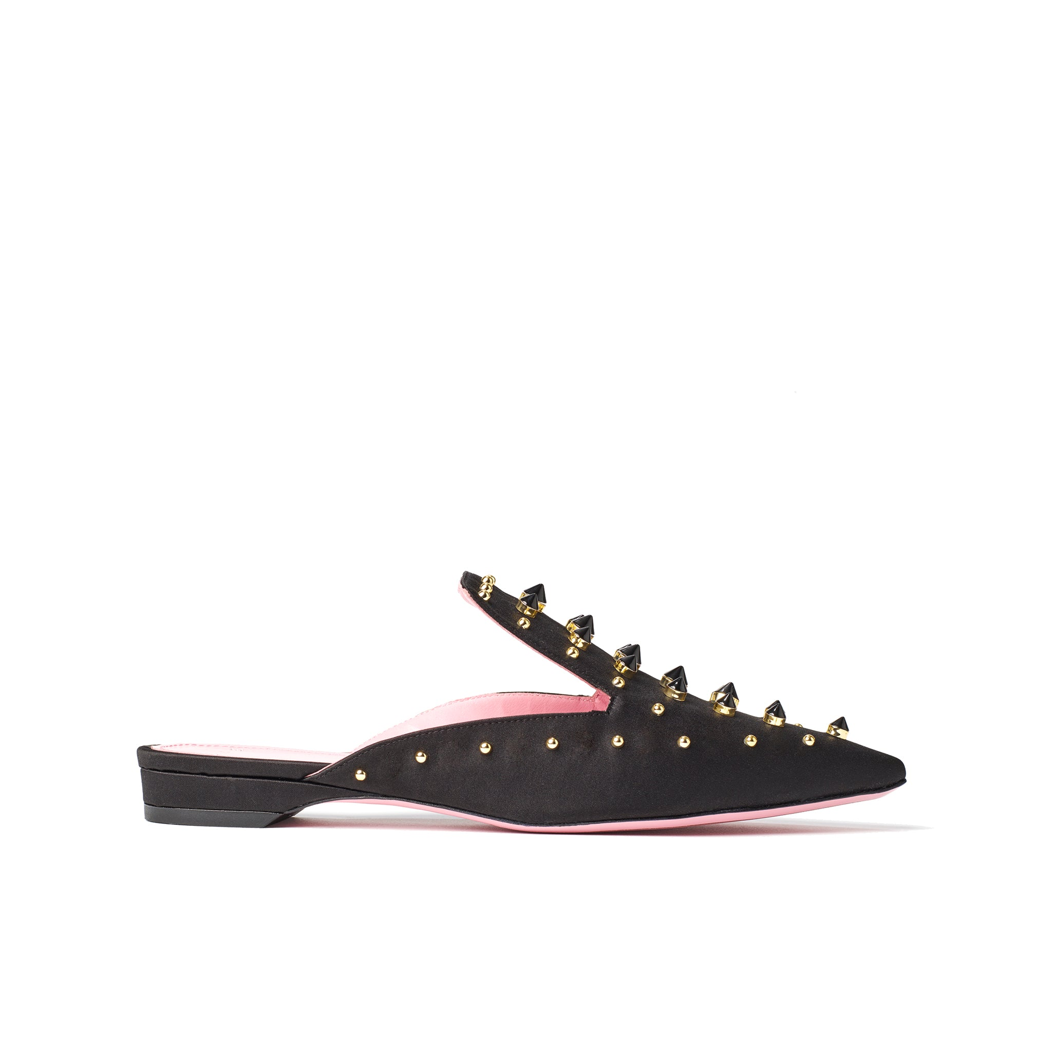 Phare Studded mule in black silk satin with gold and black studs