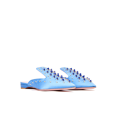 Phare Studded mule in cielo silk satin with blue and gold studs 3/4 view