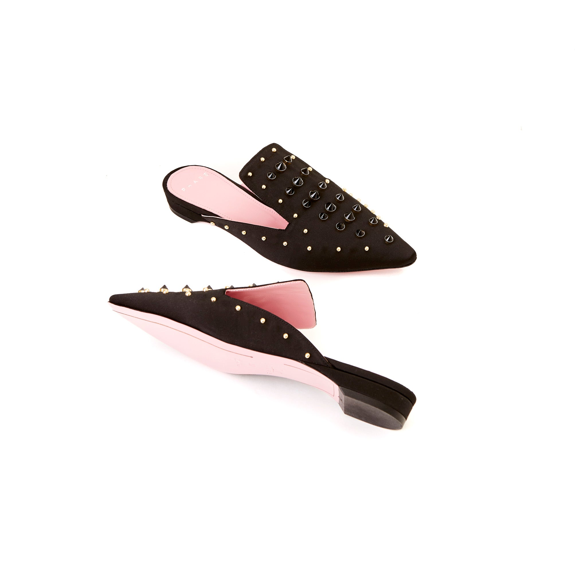 Phare Studded mule in black silk satin with gold and black studs sole view