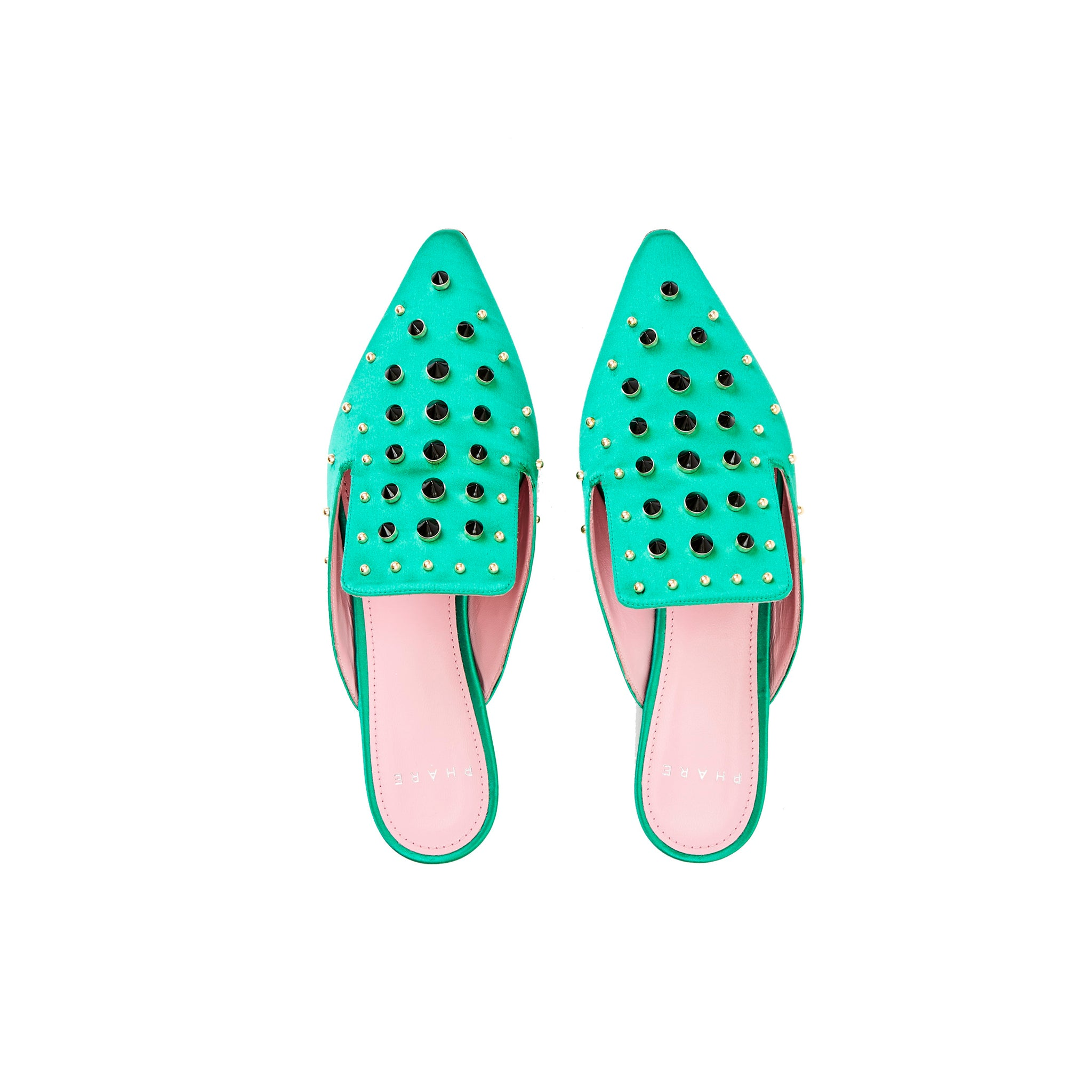 Phare Studded mule in verde silk satin with black and gold studs top view
