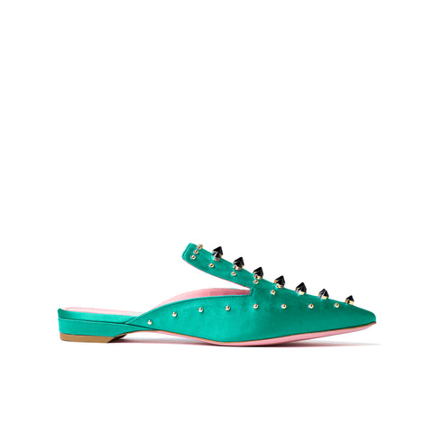 Phare Studded mule in verde silk satin with black and gold studs