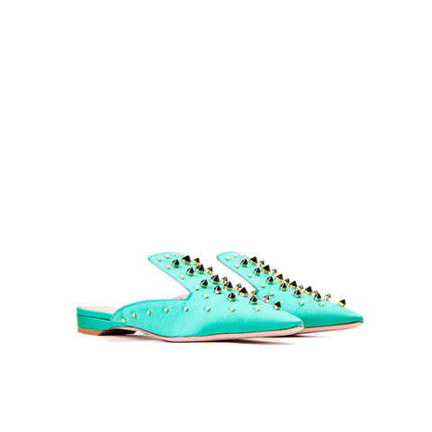 Phare Studded mule in verde silk satin with black and gold studs3/4 view