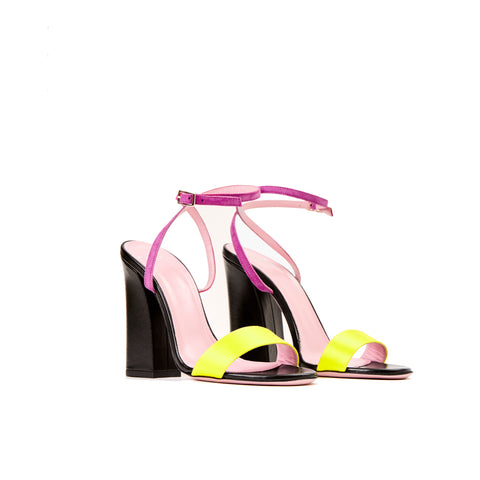 Phare Tri colour block heel sandal in multi colour 3/4 view