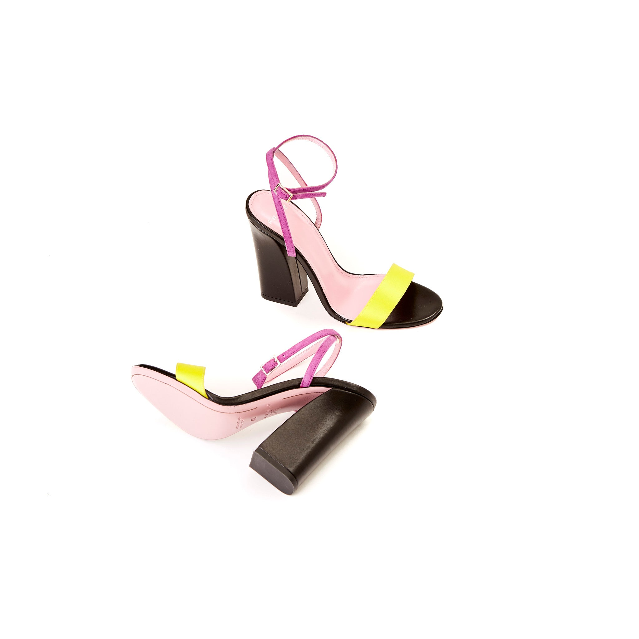 Phare Tri colour block heel sandal in multi colour sole view