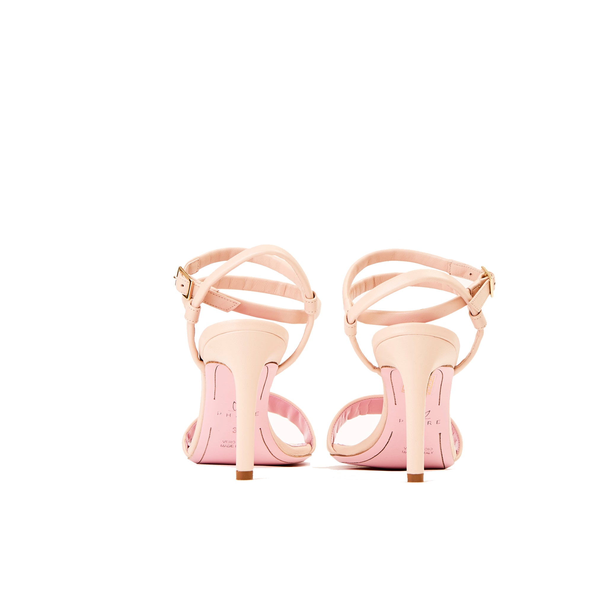 Phare Wrap ankle strap high heel sandal in pelle leather back view