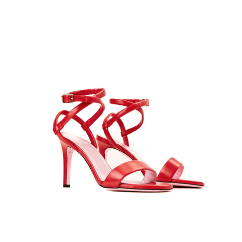 Phare Wrap ankle strap high heel sandal in red leather 3/4 view