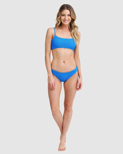 Ribbed bikini set in blue for women