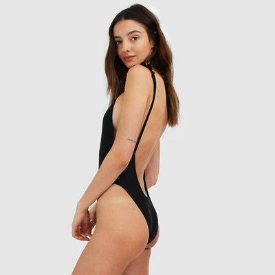 Low back cut black swimsuit