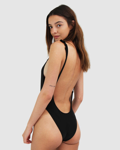 One piece black swimsuit with low cut back