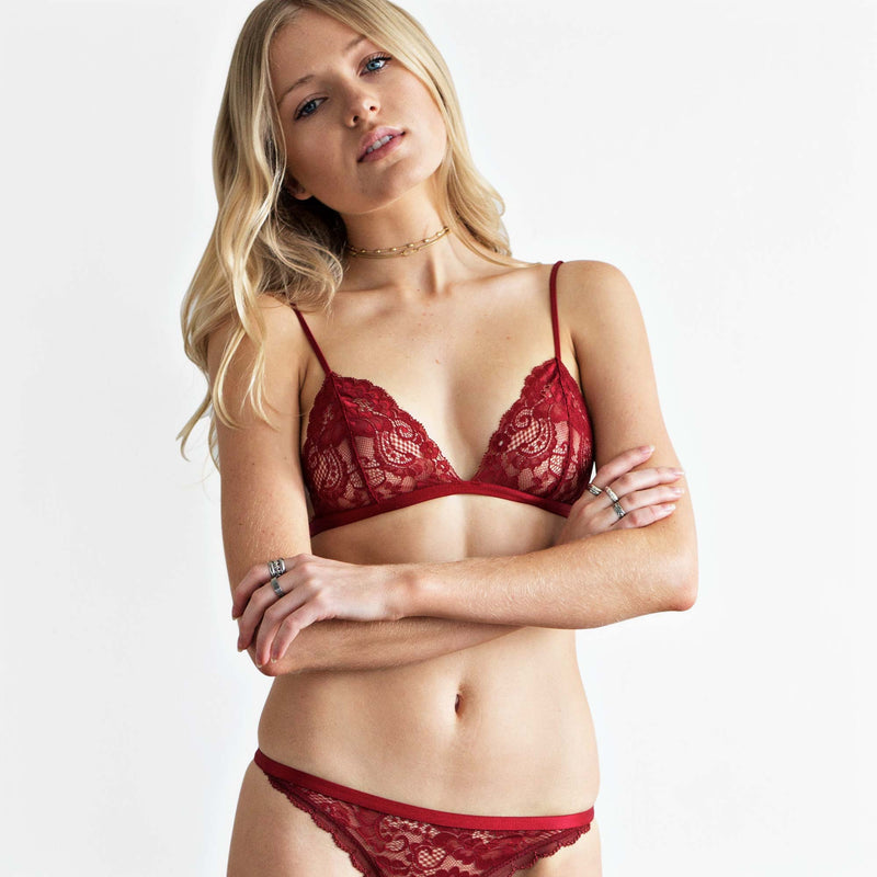Sheer red lace Bralette