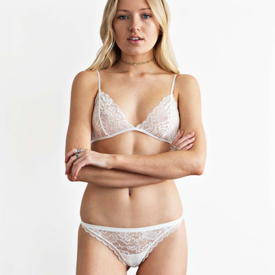 white lace triangle bralette front view on model