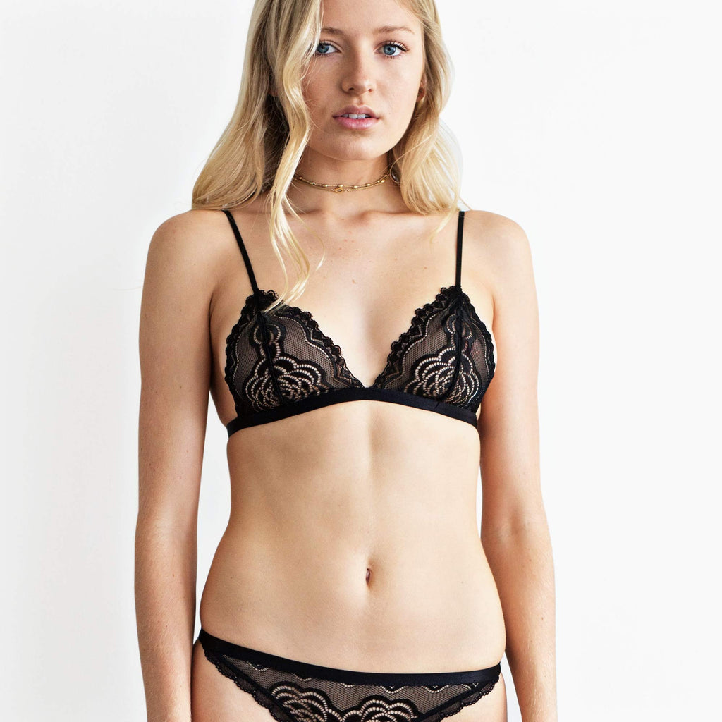 Soft cup bralette - Sheer black lace