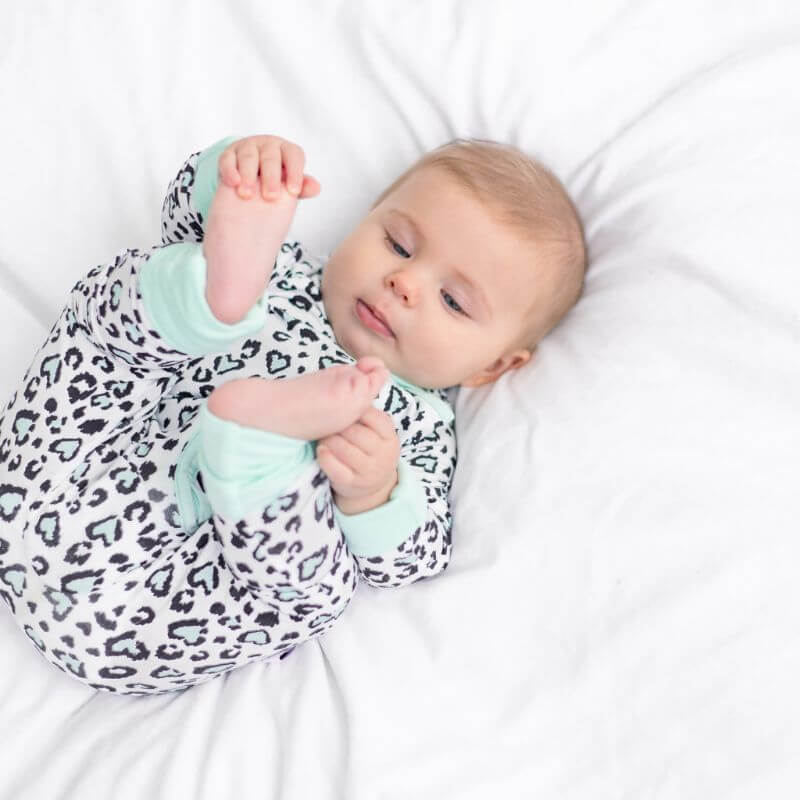 All-In-One Zippie Pyjamas • Mint Leopard Print - Bullabaloo