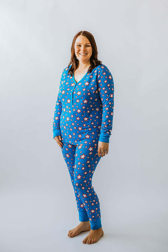 Women's 2-Piece Pyjama's - Blue & Red Star - Bullabaloo