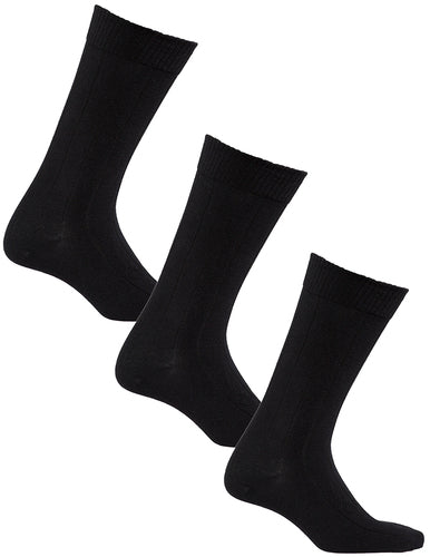 Big And Tall | Mens Black Ribbed 3 Pack Diabetic Socks