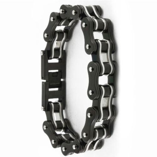 TWO TONE BLACK/SILVER STAINLESS STEEL BRACELET - LIMITLESSXL