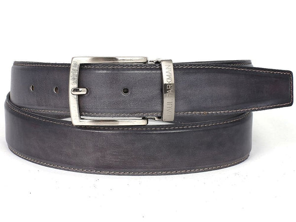 PAUL PARKMAN Men's Leather Belt Hand-Painted Gray (ID#B01-GRAY) - LIMITLESSXL