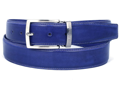 PAUL PARKMAN Men's Leather Belt Hand-Painted Cobalt Blue (ID#B01-BLU) - LIMITLESSXL