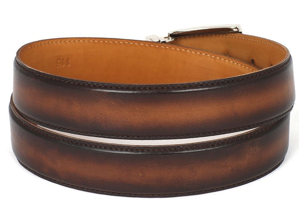 PAUL PARKMAN Men's Leather Belt Hand-Painted Brown and Camel (ID#B01-BRWCML) - LIMITLESSXL