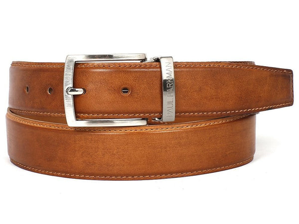 PAUL PARKMAN Men's Leather Belt Hand-Painted Tobacco (ID#B01-CML) - LIMITLESSXL