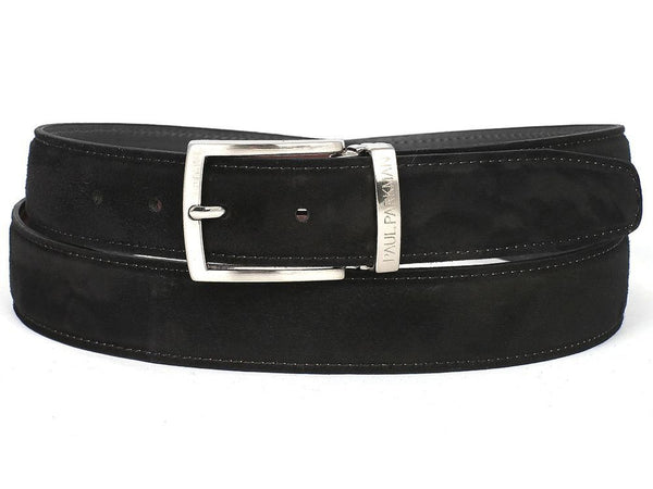 PAUL PARKMAN Men's Black Suede Belt (ID#B06-BLK)