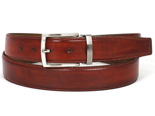 PAUL PARKMAN Men's Leather Belt Hand-Painted Reddish Brown (ID#B01-RDH) - LIMITLESSXL
