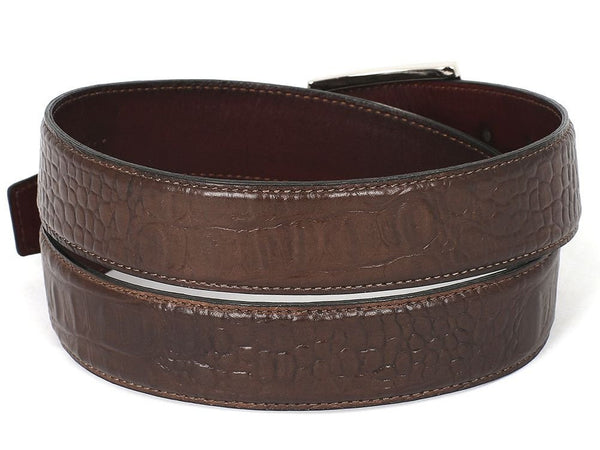 PAUL PARKMAN Men's Crocodile Embossed Calfskin Leather Belt Hand-Painted Brown (ID#B02-BRW)
