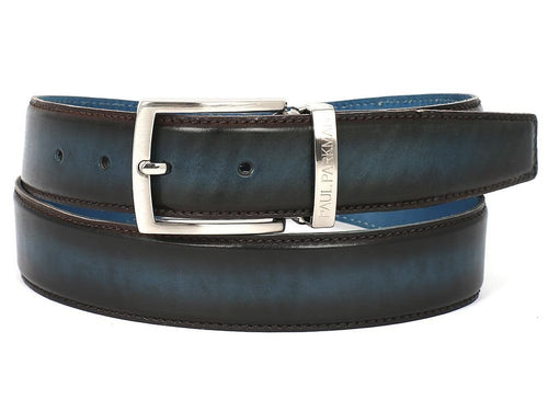 PAUL PARKMAN Men's Leather Belt Dual Tone Brown & Blue (ID#B01-BRW-BLU)