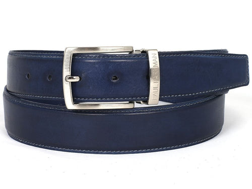 PAUL PARKMAN Men's Leather Belt Hand-Painted Navy (ID#B01-NVY) - LIMITLESSXL