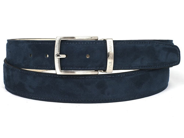 PAUL PARKMAN Men's Navy Suede Belt (ID#B06-NAVY) - LIMITLESSXL