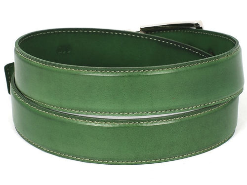 PAUL PARKMAN Men's Leather Belt Hand-Painted Green (ID#B01-LGRN) - LIMITLESSXL