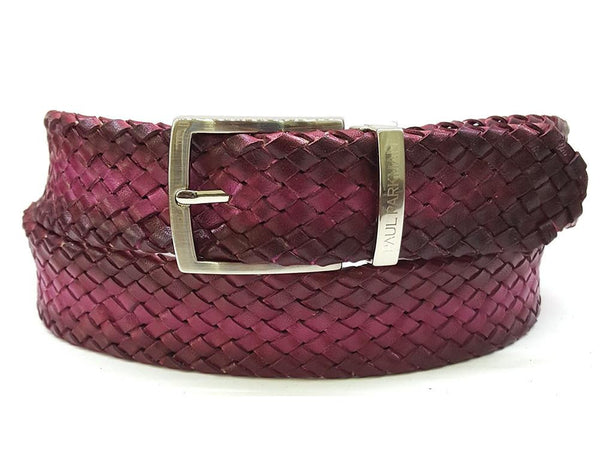 PAUL PARKMAN Men's Woven Leather Belt Purple (ID#B07-PURP)