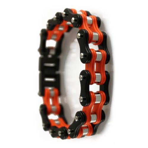 TWO TONE ORANGE BLACK STAINLESS-STEEL BRACELET - LIMITLESSXL