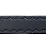 HAND DYED BLACK LEATHER BELT WITH SCALLOP DESIGN