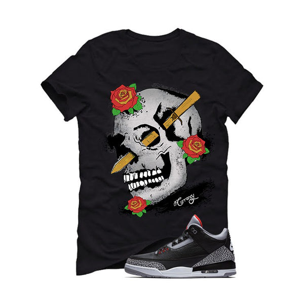 Air Jordan 3 OG Retro Black Cement Black T (Skulls And Roses) - LIMITLESSXL