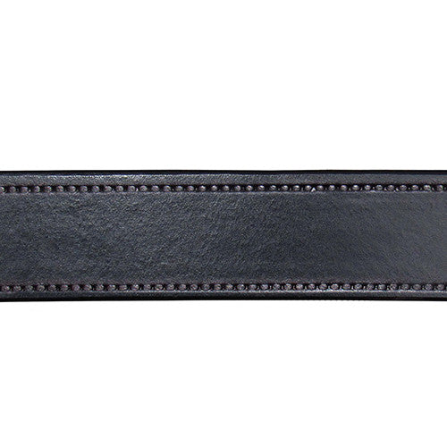 DRUM DYED BLACK LEATHER BELT WITH BORDER STITCH DESIGN - LIMITLESSXL
