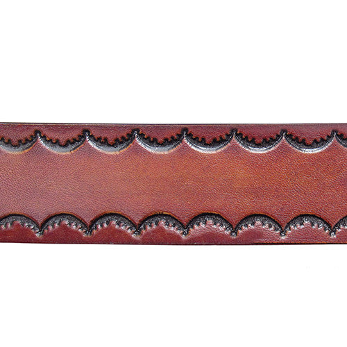 HAND DYED BROWN LEATHER BELT WITH SCALLOP DESIGN