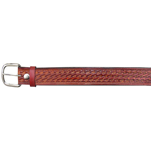 HAND DYED BROWN LEATHER BELT WITH BASKETWEAVE DESIGN