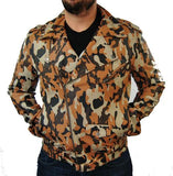 CAMOUFLAGE BIKER LEATHER JACKET - LIMITLESSXL