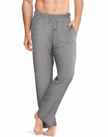 Hanes Men's ComfortSoft® Cotton Printed Lounge Pants Heather Grey Diamond