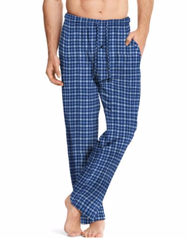 Hanes Men's ComfortSoft® Cotton Printed Lounge Pants Blue Grey Plaid