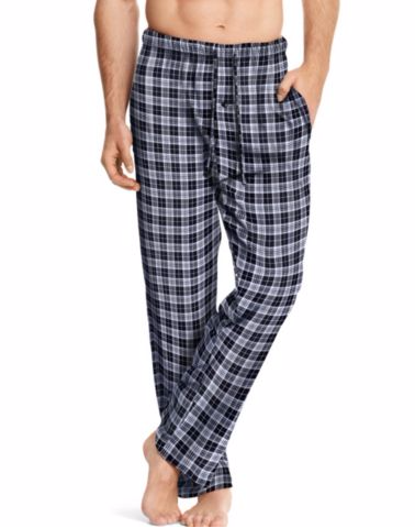 Hanes Men's ComfortSoft® Cotton Printed Lounge Pants  Black/White Plaid