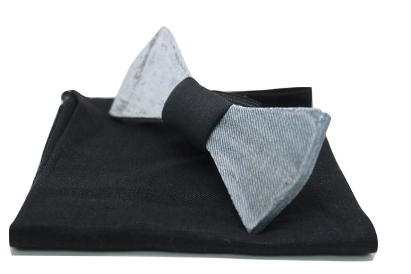 The Levi Solid Denim Bow Tie