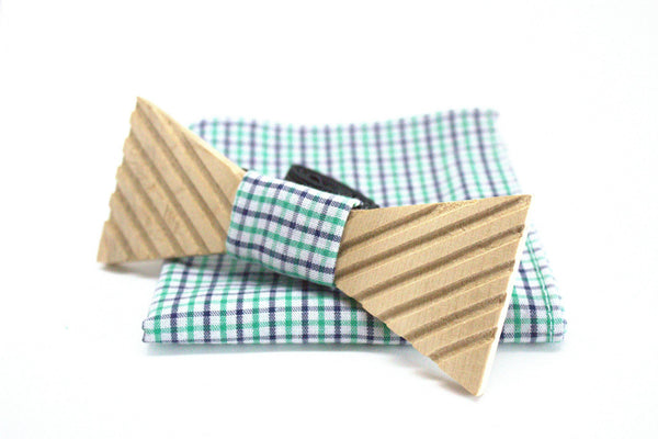 The Marshall Triangular Stripped Wooden Bow Tie