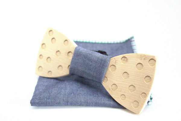 The Marshall Round Wooden Bow Tie