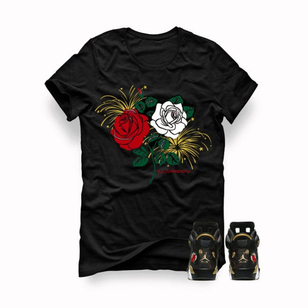Retro 6 Chinese New Year Black T (Roses)