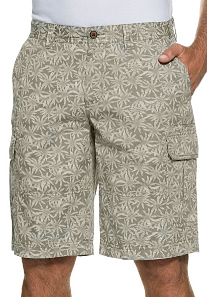 Tropical Print Cargo 6 Pocket Cotton Zipper Closure Bermuda shorts